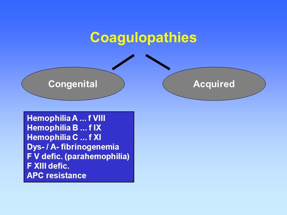 Coagulopathies AcquiredCongenital Hemophilia A... f VIII Hemophilia B... f IX Hemophilia C... f XI Dys- / A- fibrinogenemia F V defic. (parahemophilia
