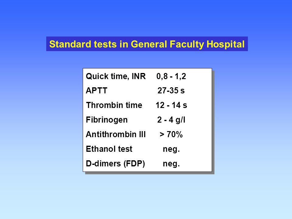 Quick time, INR0,8 - 1,2 APTT27-35 s Thrombin time12 - 14 s Fibrinogen2 - 4 g/l Antithrombin III> 70% Ethanol testneg. D-dimers (FDP)neg. Quick time,
