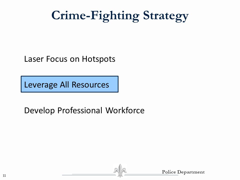 Crime-Fighting Strategy 11 Police Department Laser Focus on Hotspots Leverage All Resources Develop Professional Workforce