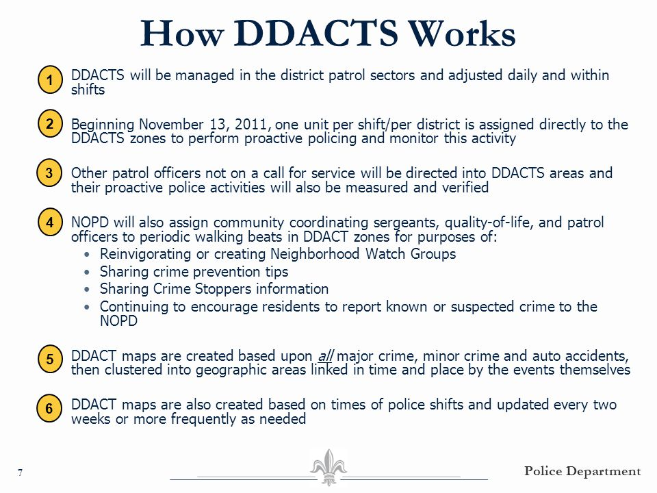 How DDACTS Works ○ DDACTS will be managed in the district patrol sectors and adjusted daily and within shifts ○ Beginning November 13, 2011, one unit