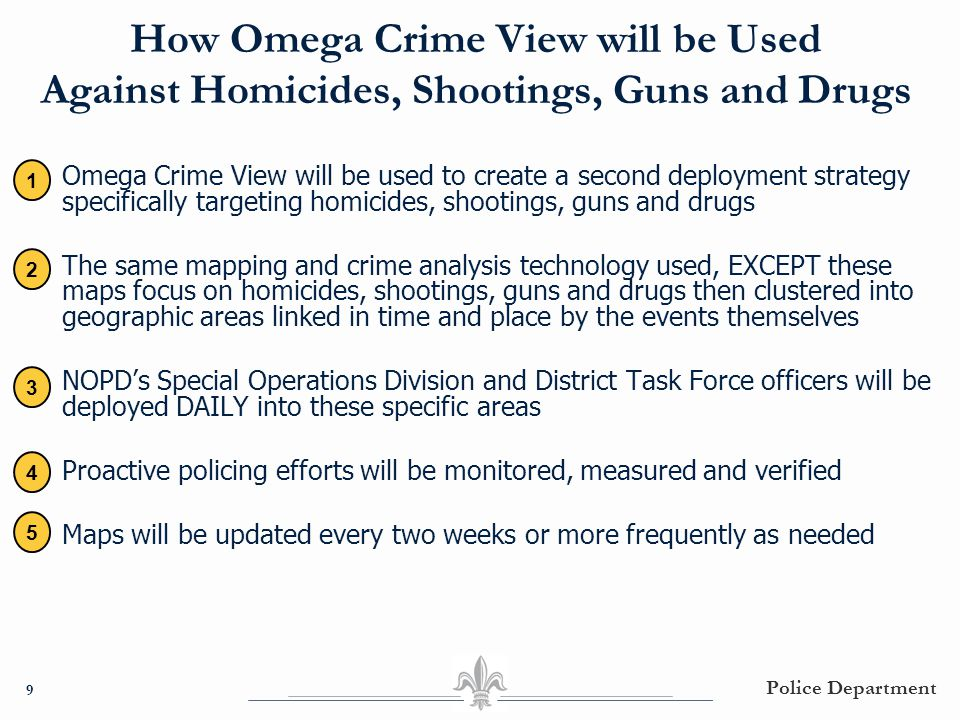 How Omega Crime View will be Used Against Homicides, Shootings, Guns and Drugs ● Omega Crime View will be used to create a second deployment strategy