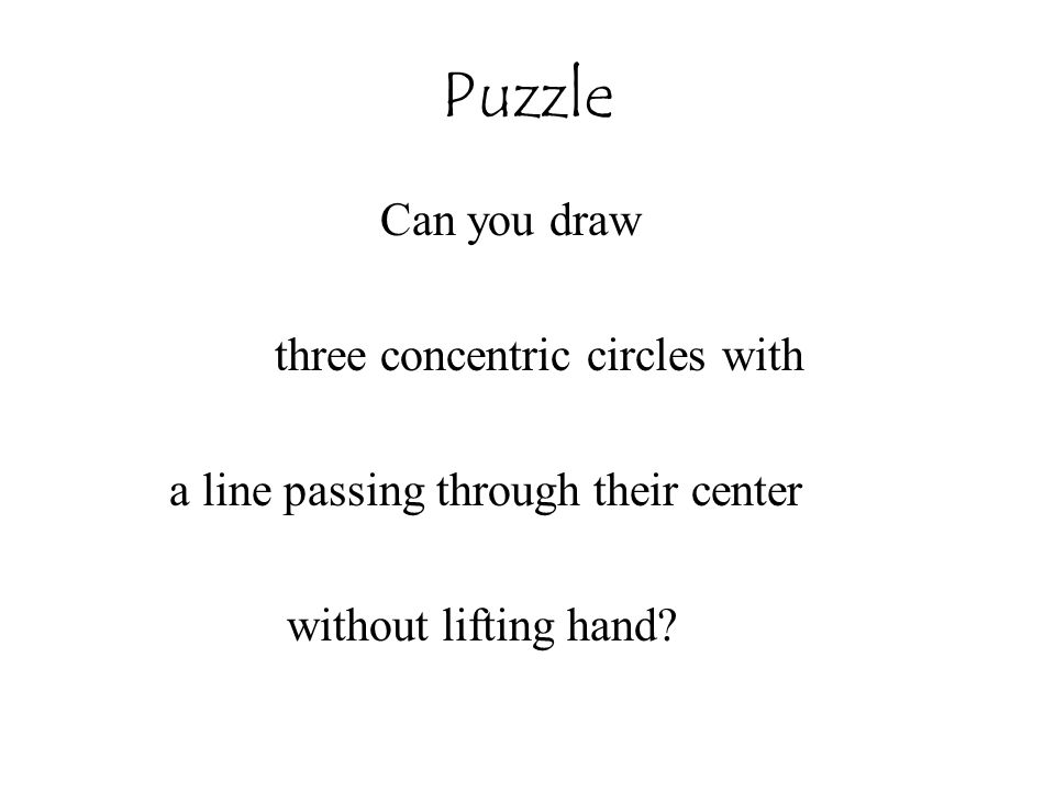 Puzzle Can you draw three concentric circles with a line passing through their center without lifting hand?