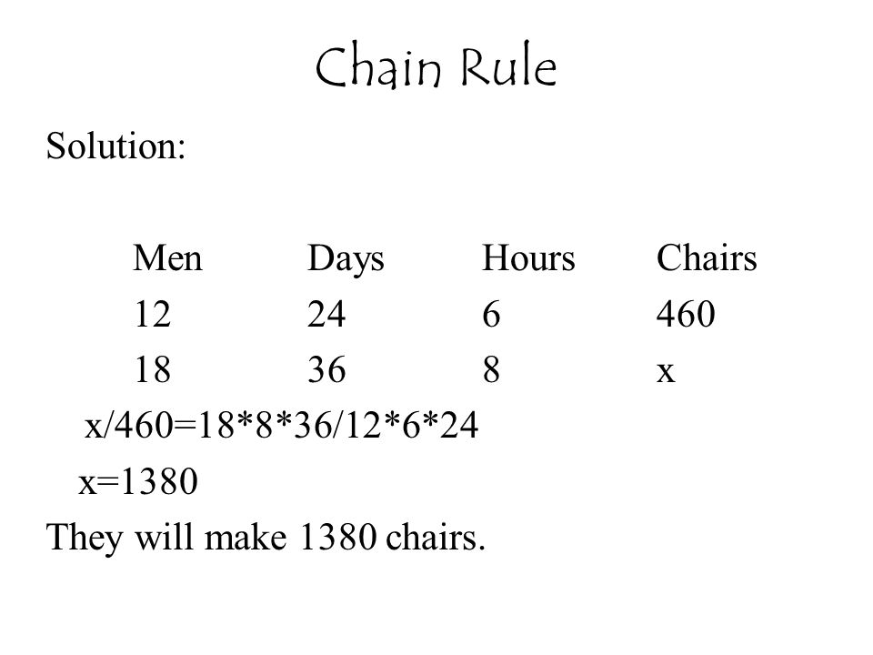 Solution: MenDaysHoursChairs 12246460 18368x x/460=18*8*36/12*6*24 x=1380 They will make 1380 chairs. Chain Rule
