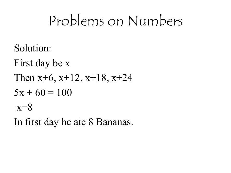 Solution: A = 1984 / 7 = 3 B = 1984 / 4 = 496 / 7 = 6 C = 13 / 7 = 6 D = 2 ( A + B + C + D) -3 = ----------------------- 7 = 14/7= 0, Sunday.