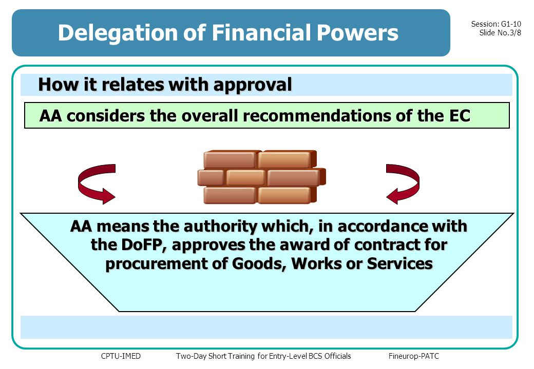 CPTU-IMED Two-Day Short Training for Entry-Level BCS Officials Fineurop-PATC Session: G1-10 Slide No.3/8 Delegation of Financial Powers How it relates with approval AA considers the overall recommendations of the EC AA considers the overall recommendations of the EC AA means the authority which, in accordance with the DoFP, approves the award of contract for procurement of Goods, Works or Services