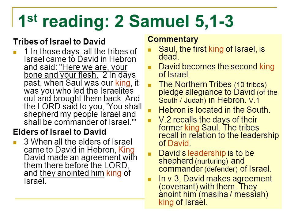 1 st reading: 2 Samuel 5,1-3 Tribes of Israel to David 1 In those days, all the tribes of Israel came to David in Hebron and said: Here we are, your bone and your flesh.