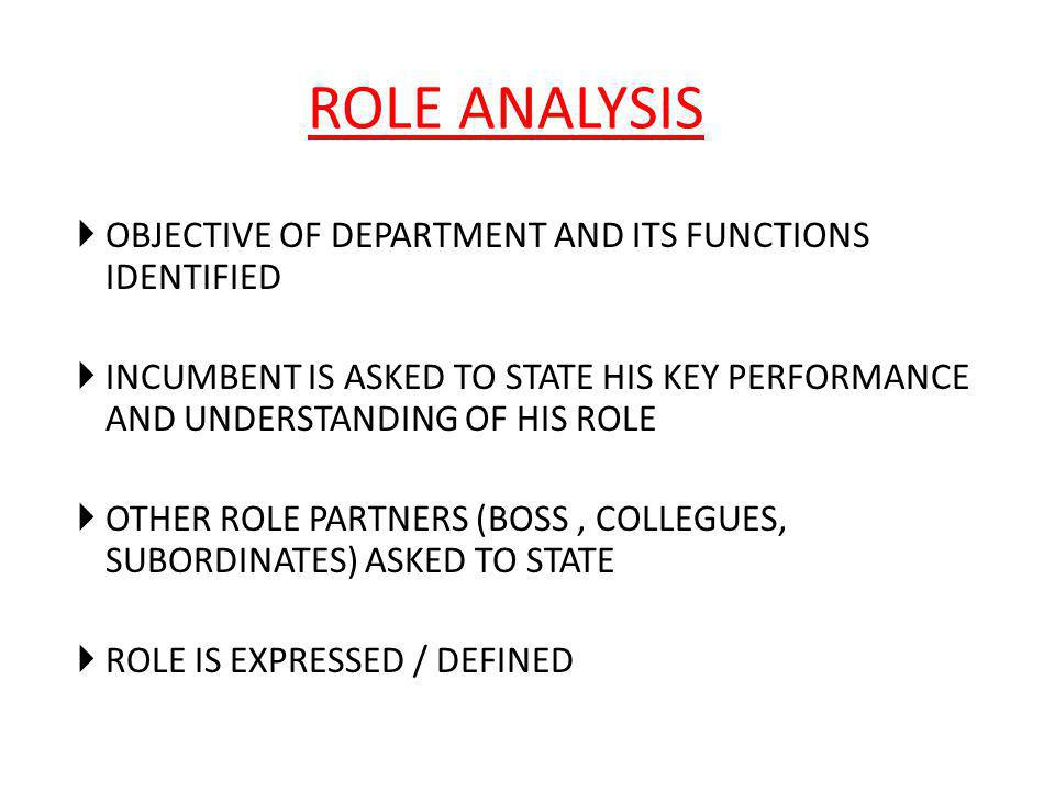  OBJECTIVE OF DEPARTMENT AND ITS FUNCTIONS IDENTIFIED  INCUMBENT IS ASKED TO STATE HIS KEY PERFORMANCE AND UNDERSTANDING OF HIS ROLE  OTHER ROLE PA