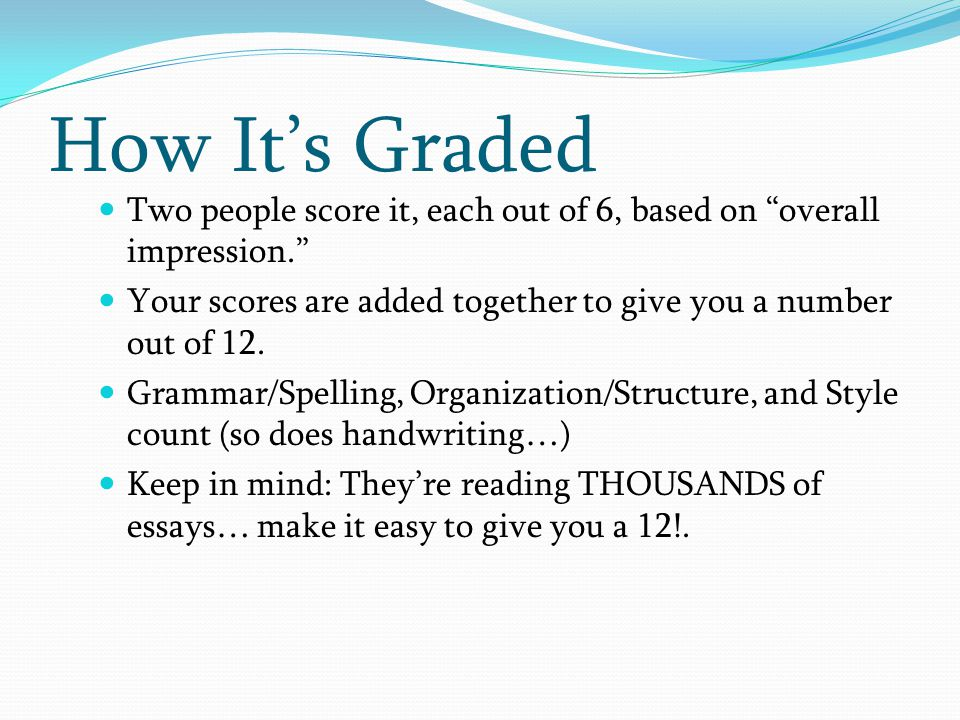 """Two people score it, each out of 6, based on """"overall impression."""" Your scores are added together to give you a number out of 12. Grammar/Spelling, Or"""