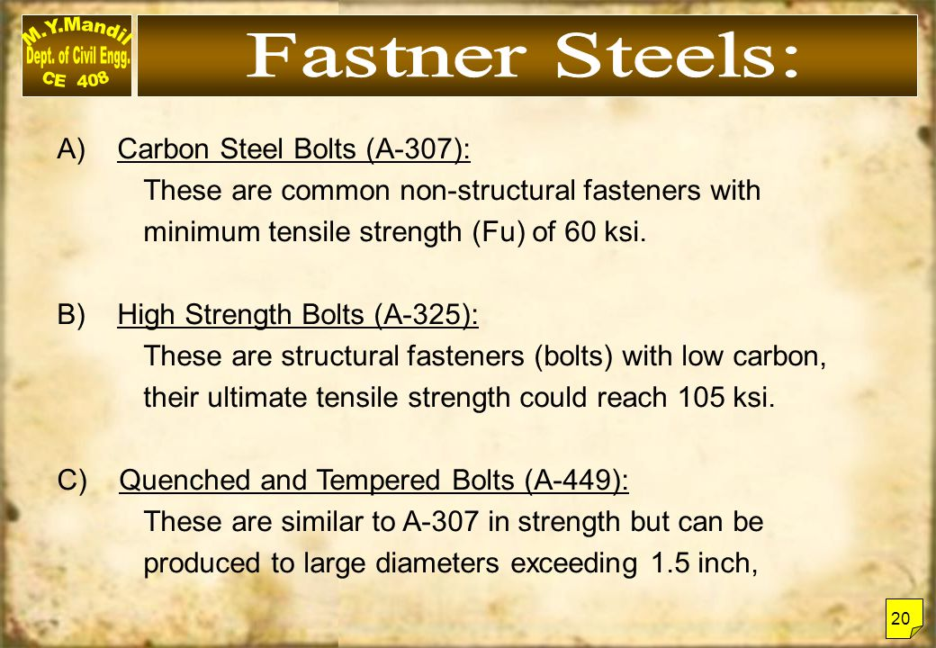 A) Carbon Steel Bolts (A-307): These are common non-structural fasteners with minimum tensile strength (Fu) of 60 ksi. B) High Strength Bolts (A-325):