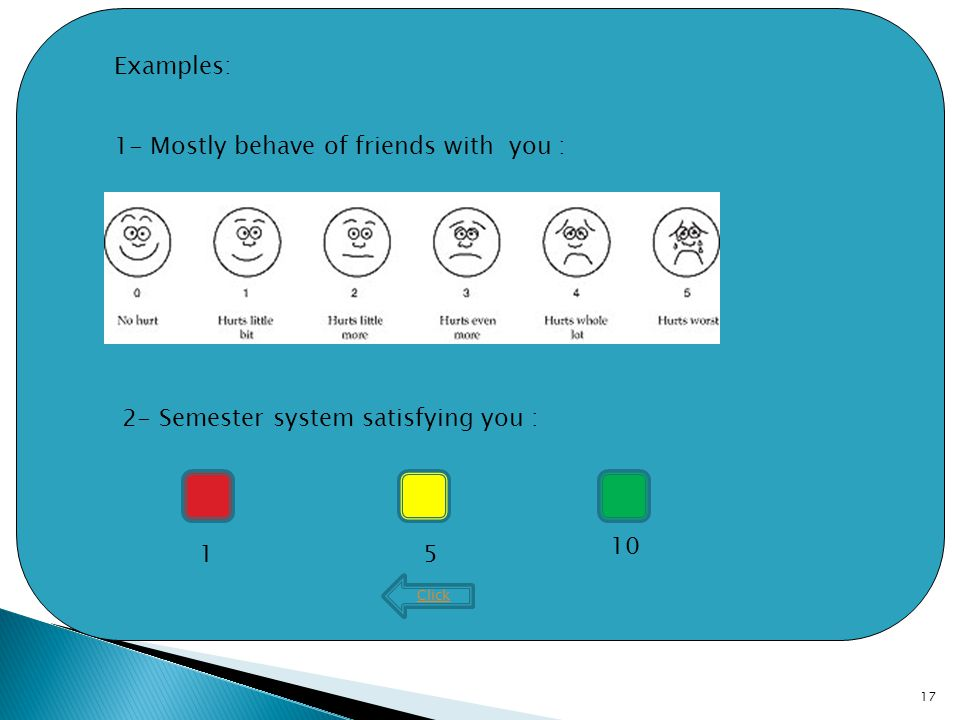 17 Click 1- Mostly behave of friends with you : 2- Semester system satisfying you : Examples: 15 10