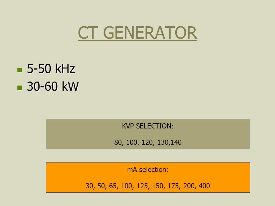 CT GENERATOR 5-50 kHz 5-50 kHz 30-60 kW 30-60 kW KVP SELECTION: 80, 100, 120, 130,140 mA selection: 30, 50, 65, 100, 125, 150, 175, 200, 400