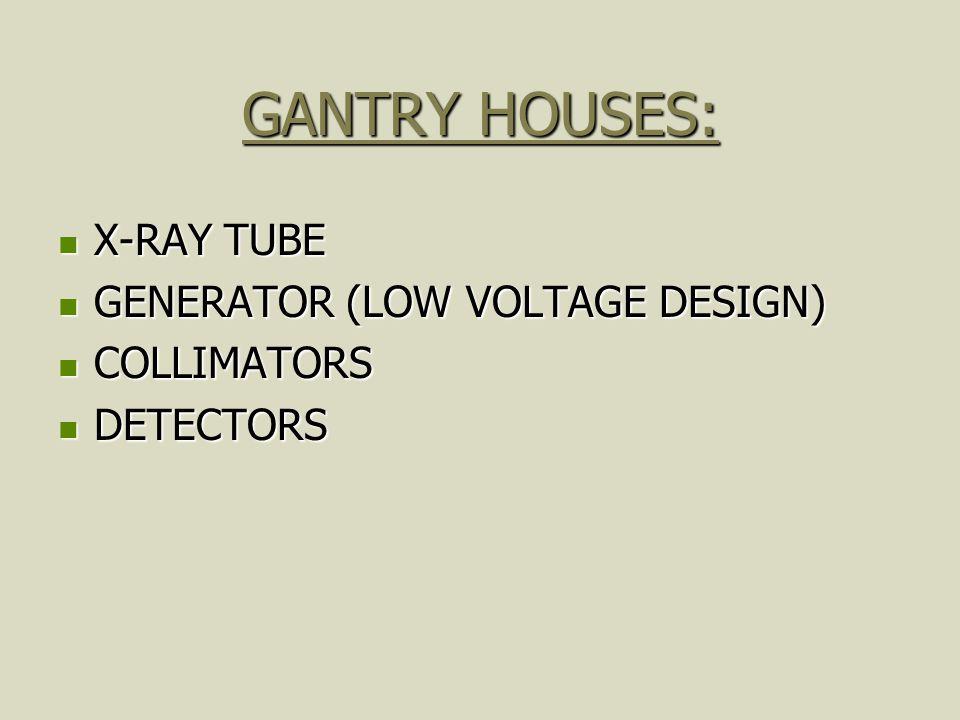 GANTRY HOUSES: X-RAY TUBE X-RAY TUBE GENERATOR (LOW VOLTAGE DESIGN) GENERATOR (LOW VOLTAGE DESIGN) COLLIMATORS COLLIMATORS DETECTORS DETECTORS