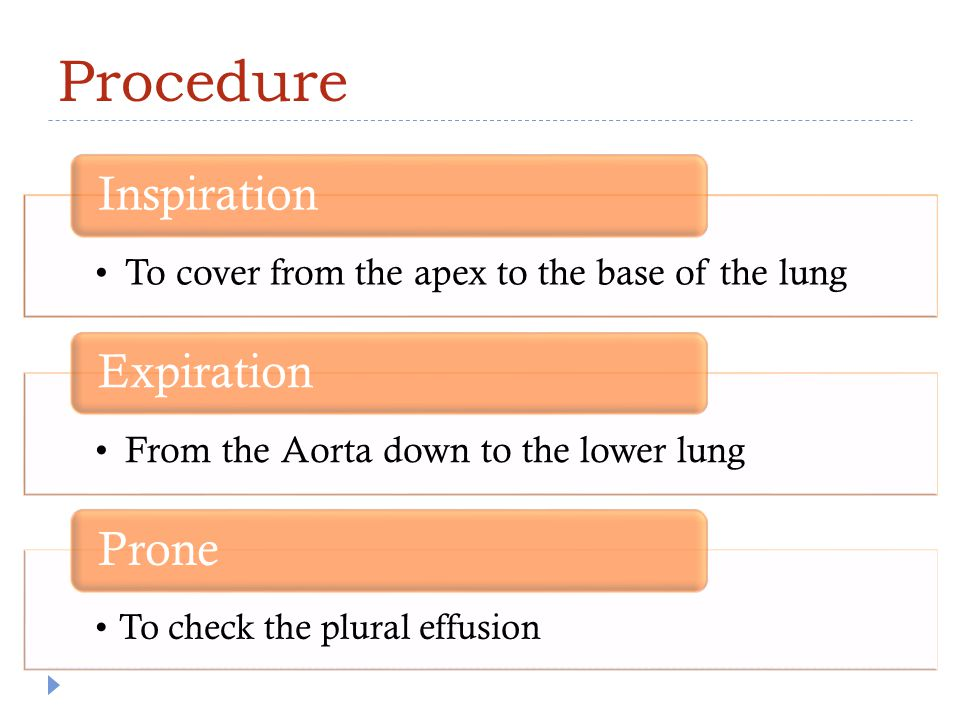 Procedure To cover from the apex to the base of the lung Inspiration From the Aorta down to the lower lung Expiration To check the plural effusion Pro