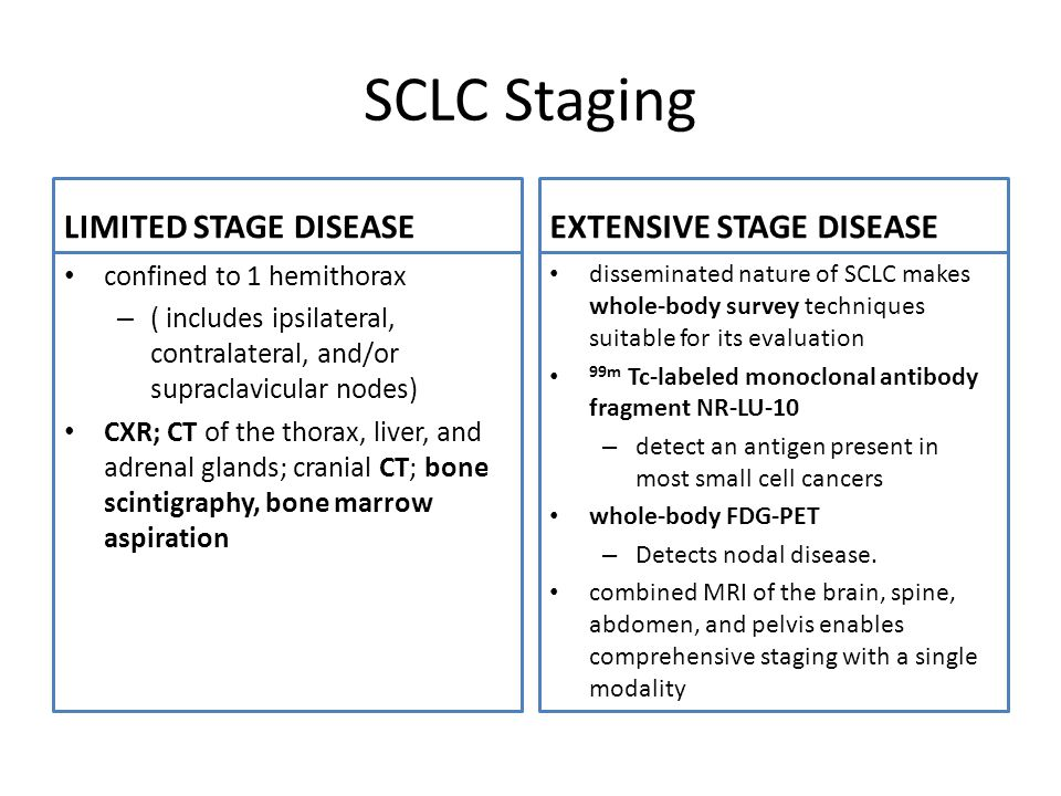 SCLC Staging LIMITED STAGE DISEASE confined to 1 hemithorax – ( includes ipsilateral, contralateral, and/or supraclavicular nodes) CXR; CT of the thorax, liver, and adrenal glands; cranial CT; bone scintigraphy, bone marrow aspiration EXTENSIVE STAGE DISEASE disseminated nature of SCLC makes whole-body survey techniques suitable for its evaluation 99m Tc-labeled monoclonal antibody fragment NR-LU-10 – detect an antigen present in most small cell cancers whole-body FDG-PET – Detects nodal disease.