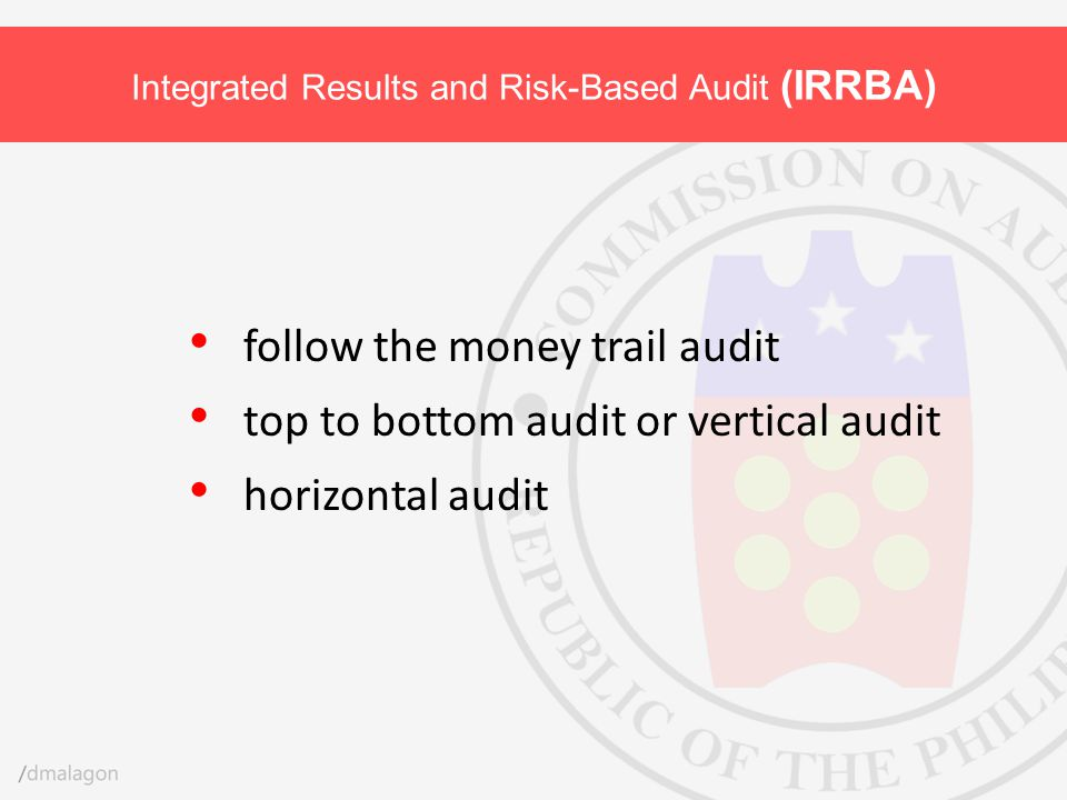 follow the money trail audit top to bottom audit or vertical audit horizontal audit Integrated Results and Risk-Based Audit (IRRBA)