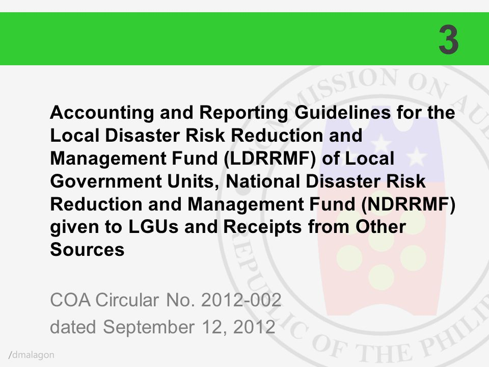 Accounting and Reporting Guidelines for the Local Disaster Risk Reduction and Management Fund (LDRRMF) of Local Government Units, National Disaster Ri