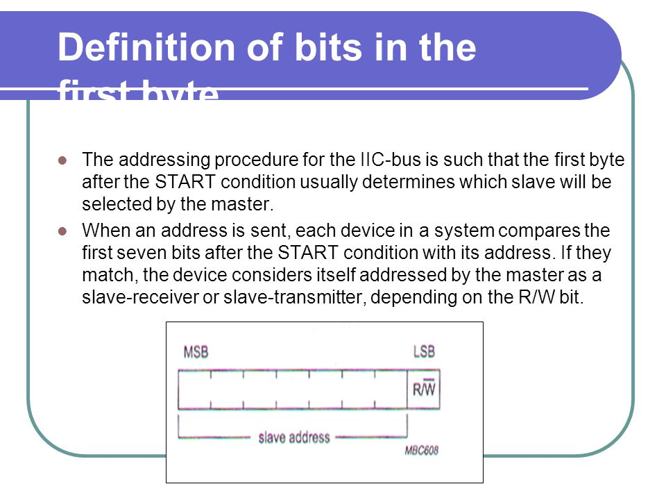 Definition of bits in the first byte The addressing procedure for the IIC-bus is such that the first byte after the START condition usually determines