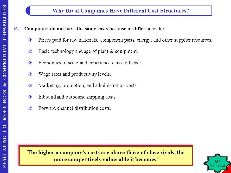 EVALUATING CO. RESOURCES & COMPETITIVE CAPABILITIES Companies do not have the same costs because of differences in: Prices paid for raw materials, com