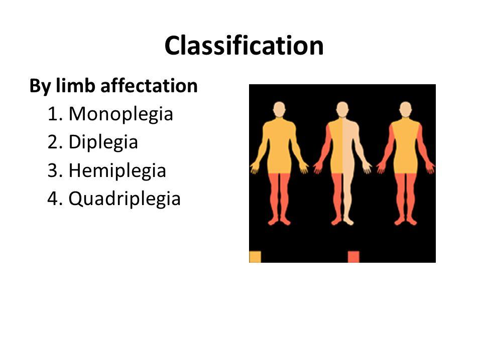 Classification By limb affectation 1. Monoplegia 2. Diplegia 3. Hemiplegia 4. Quadriplegia