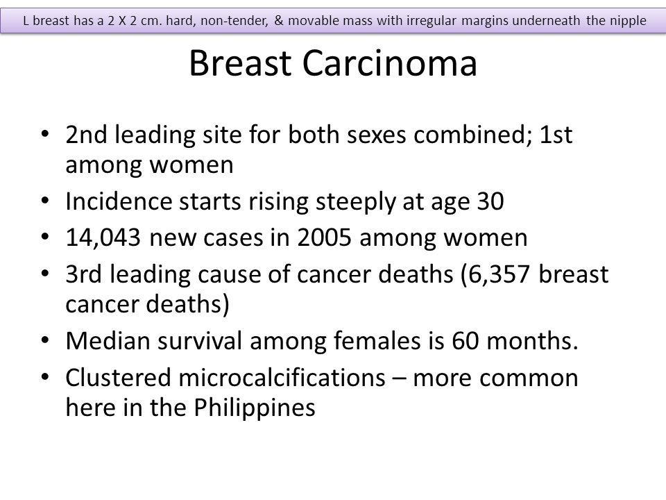 Breast Carcinoma 2nd leading site for both sexes combined; 1st among women Incidence starts rising steeply at age 30 14,043 new cases in 2005 among wo