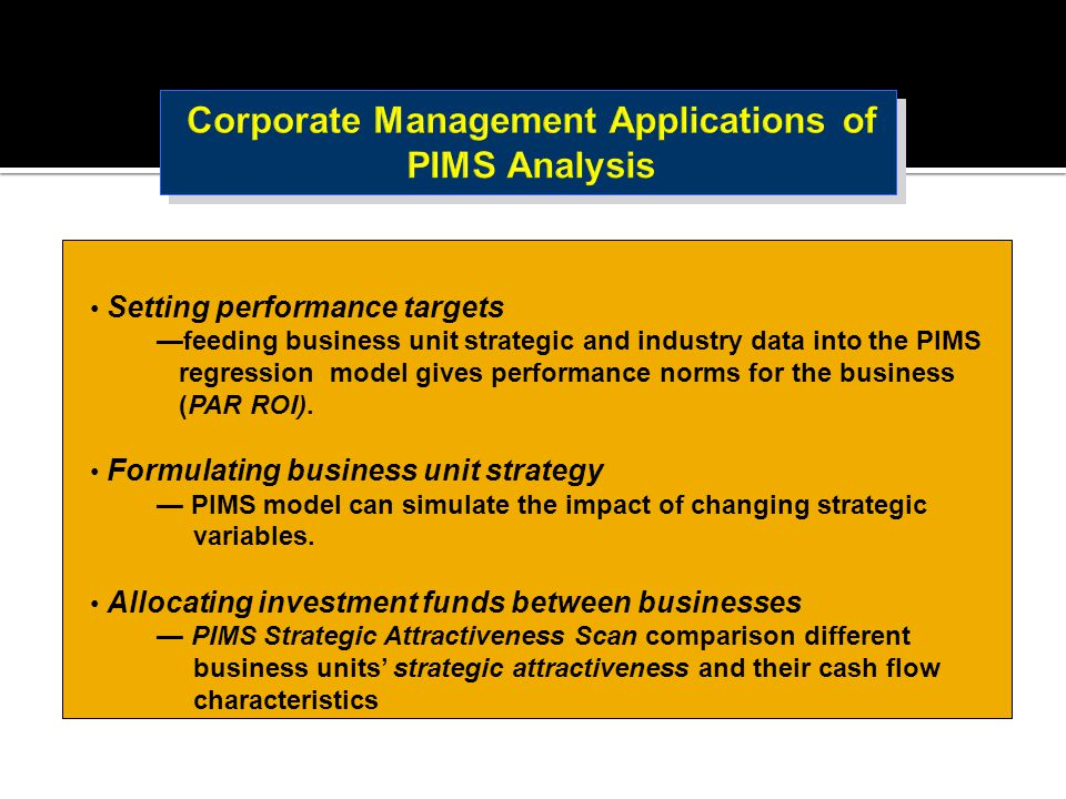 Setting performance targets —feeding business unit strategic and industry data into the PIMS regression model gives performance norms for the business