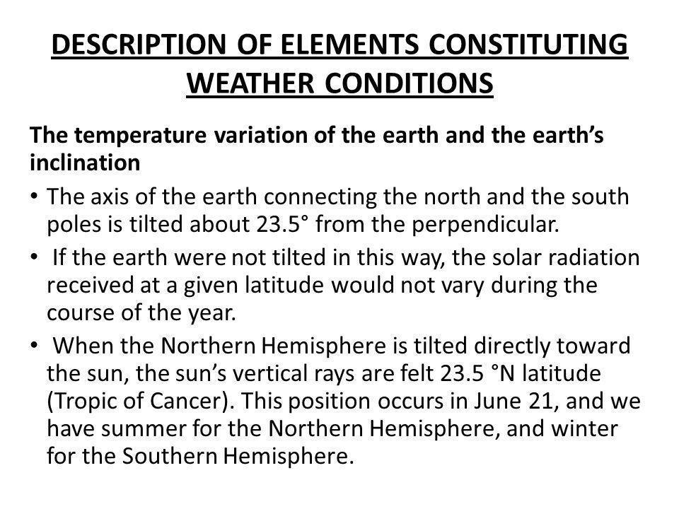 DESCRIPTION OF ELEMENTS CONSTITUTING WEATHER CONDITIONS The temperature variation of the earth and the earth's inclination The axis of the earth conne