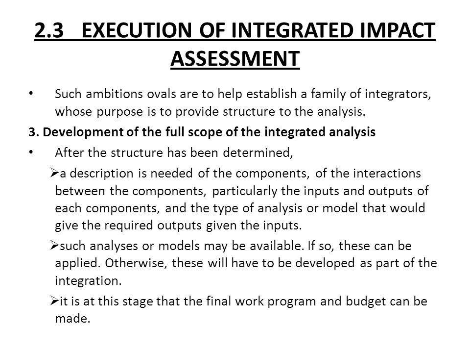 2.3 EXECUTION OF INTEGRATED IMPACT ASSESSMENT Such ambitions ovals are to help establish a family of integrators, whose purpose is to provide structur