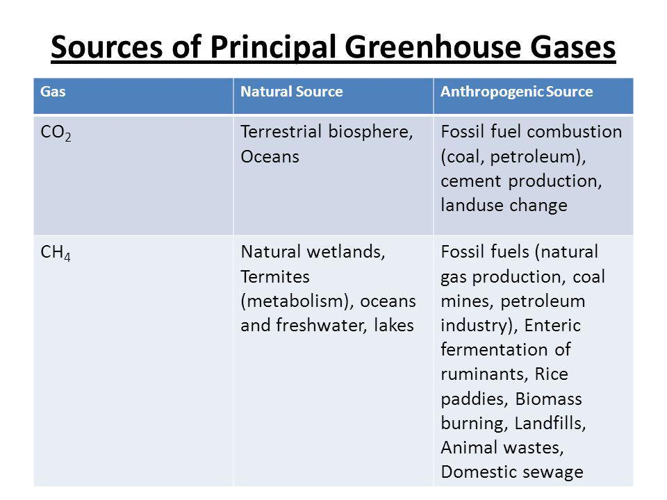 Sources of Principal Greenhouse Gases GasNatural SourceAnthropogenic Source CO 2 Terrestrial biosphere, Oceans Fossil fuel combustion (coal, petroleum