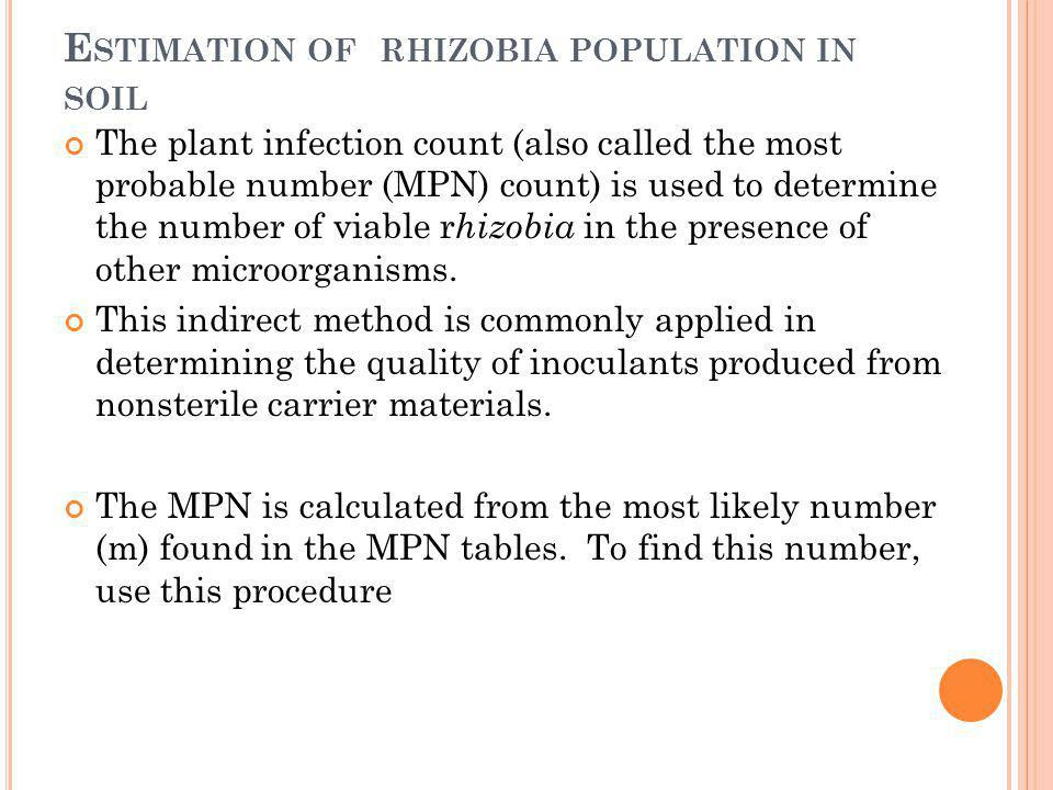 E STIMATION OF RHIZOBIA POPULATION IN SOIL The plant infection count (also called the most probable number (MPN) count) is used to determine the numbe