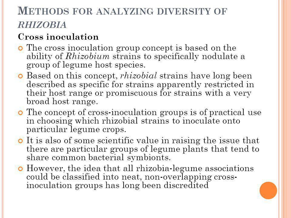 M ETHODS FOR ANALYZING DIVERSITY OF RHIZOBIA Cross inoculation The cross inoculation group concept is based on the ability of Rhizobium strains to spe