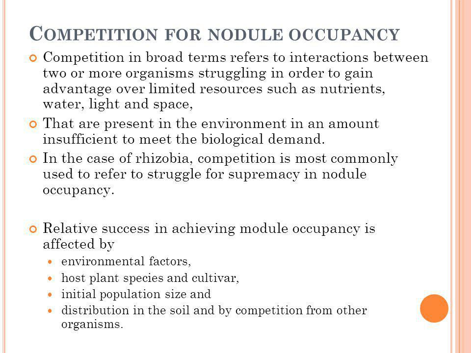 C OMPETITION FOR NODULE OCCUPANCY Competition in broad terms refers to interactions between two or more organisms struggling in order to gain advantag