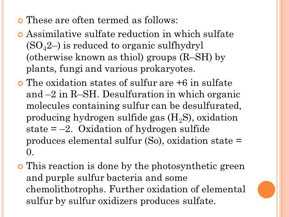 These are often termed as follows: Assimilative sulfate reduction in which sulfate (SO 4 2–) is reduced to organic sulfhydryl (otherwise known as thio