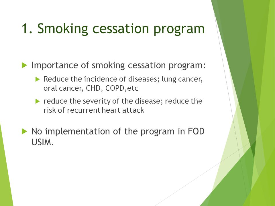 1. Smoking cessation program  Importance of smoking cessation program:  Reduce the incidence of diseases; lung cancer, oral cancer, CHD, COPD,etc 