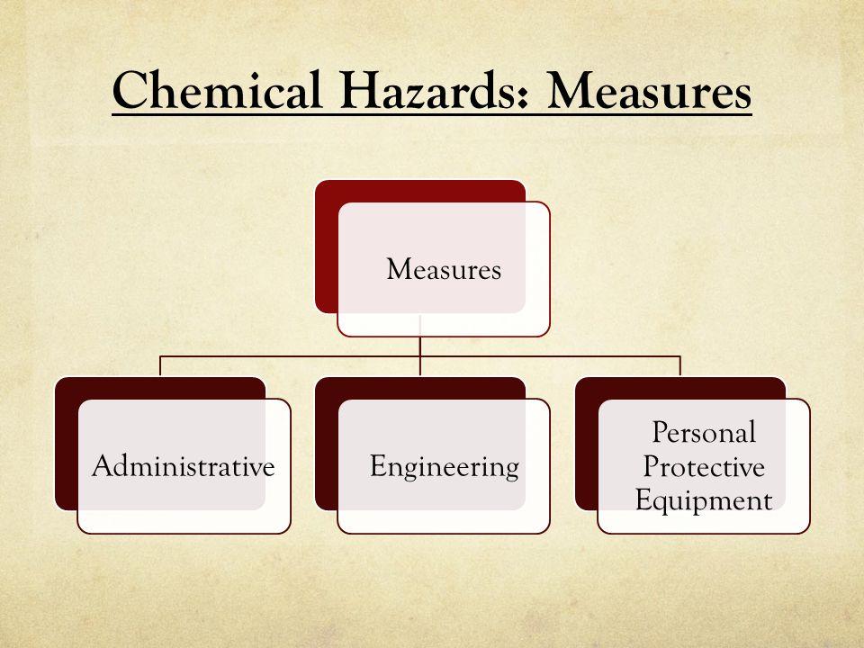 Chemical Hazards: Measures MeasuresAdministrativeEngineering Personal Protective Equipment