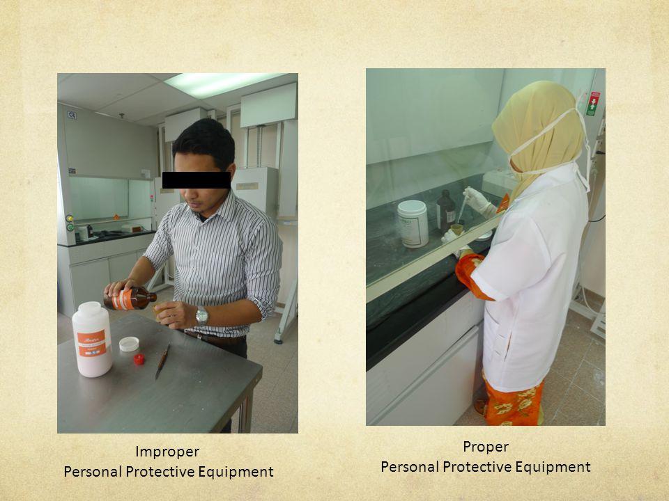 Improper Personal Protective Equipment Proper Personal Protective Equipment