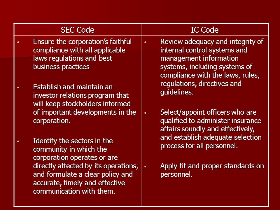 SEC Code IC Code Ensure the corporation's faithful compliance with all applicable laws regulations and best business practices Ensure the corporation'
