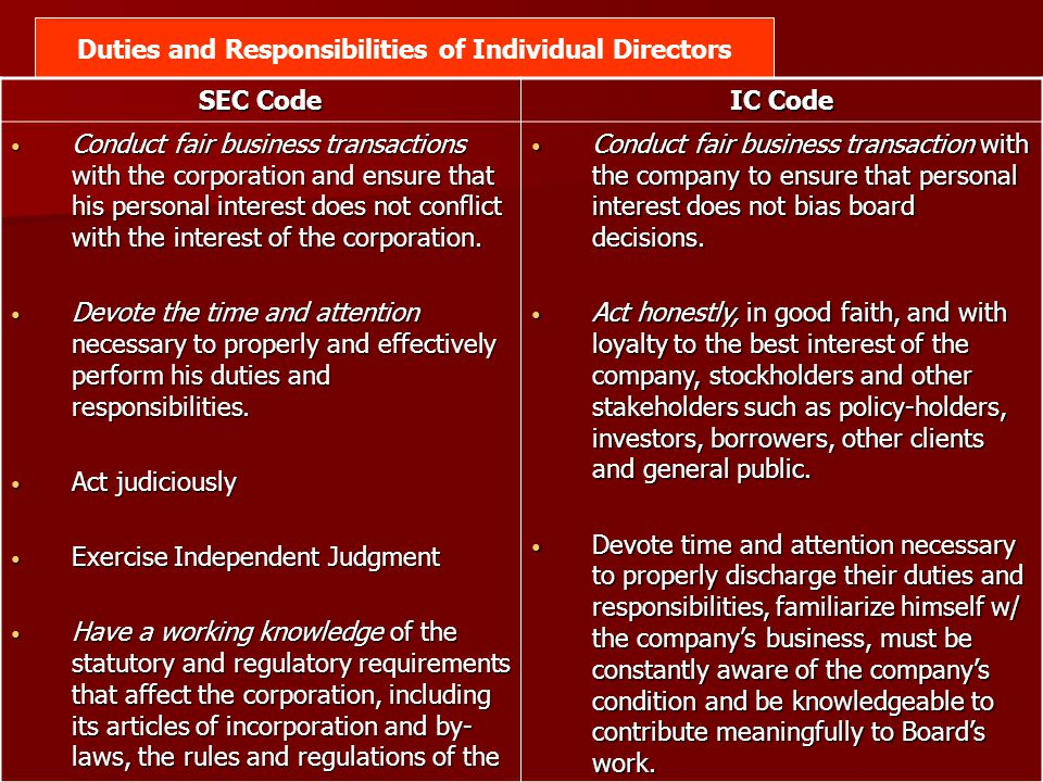 Duties and Responsibilities of Individual Directors SEC Code IC Code Conduct fair business transactions with the corporation and ensure that his perso