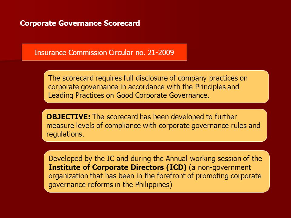 Insurance Commission Circular no. 21-2009 The scorecard requires full disclosure of company practices on corporate governance in accordance with the P