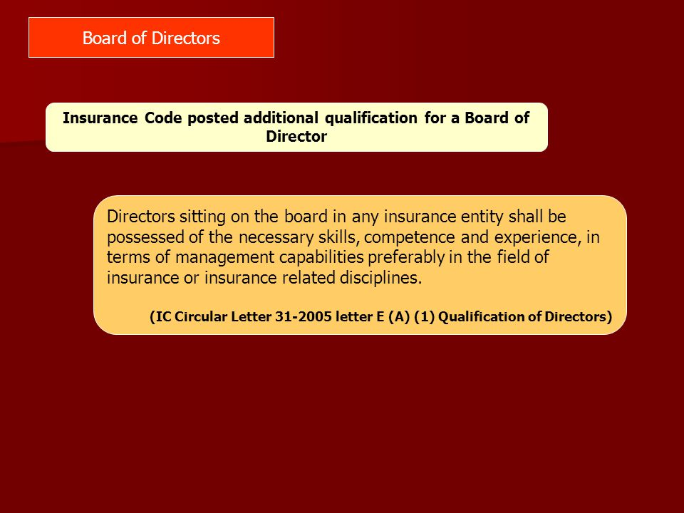 SEC Code IC Code Adopt a system of check and balance within the Board.