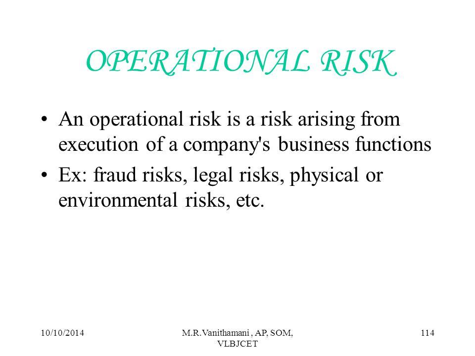 10/10/2014M.R.Vanithamani, AP, SOM, VLBJCET 113 TYPES OF BUSINESS RISK Operational risk Market risk Inherent risk Static risk Credit risk Systematic risk