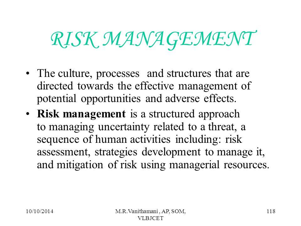 10/10/2014M.R.Vanithamani, AP, SOM, VLBJCET 117 TYPES OF BUSINESS RISK Internal risks 1.Human factors 2.Technological factors 3.Physical factors External risks 1.Economic factors 2.Natural factors 3.Political factors