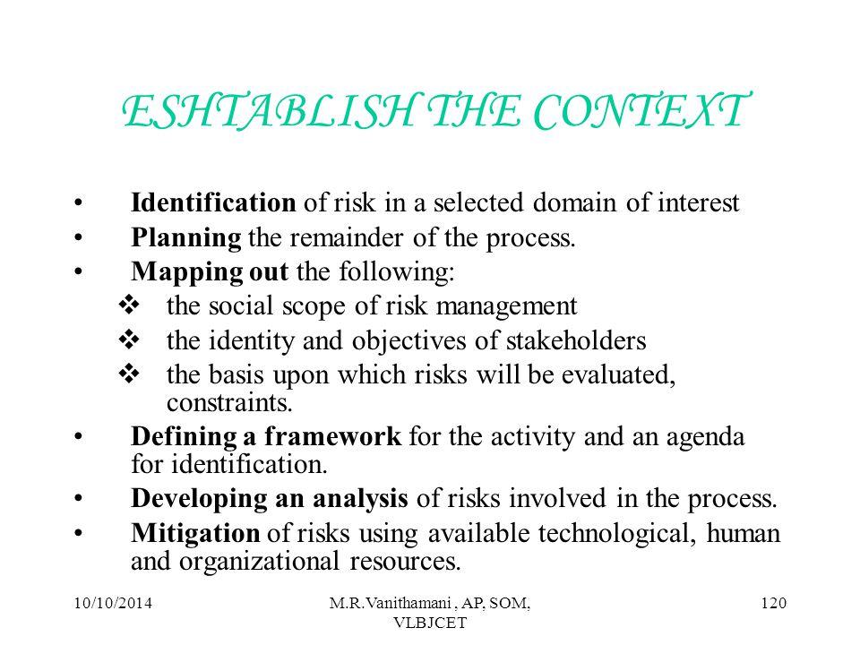 10/10/2014M.R.Vanithamani, AP, SOM, VLBJCET 119 RISK MANAGEMENT CYCLE RISK IDENTIFICATION RISK ASSESMENT RISK TREATMENTS CREATE RISK MANAGEMENT PLAN IMPLEMENTATION REVIEW AND EVALUATION ESHTABLISH THE CONTEXT