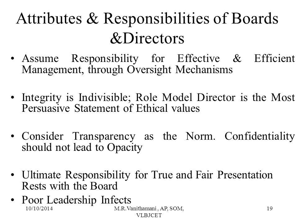 10/10/2014M.R.Vanithamani, AP, SOM, VLBJCET 18 Governance Orientation & Sustainable Profits