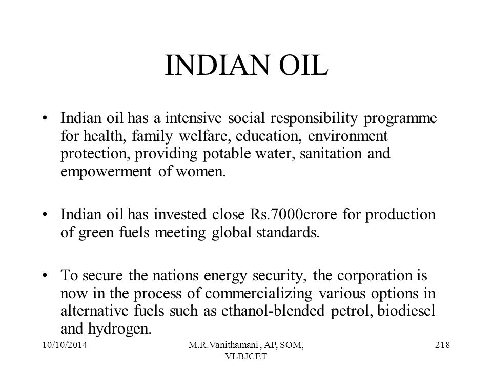 10/10/2014M.R.Vanithamani, AP, SOM, VLBJCET 217 NATIONAL ENVIRONMENTAL POLICY Environmental and economy are the two sides of the same coin.