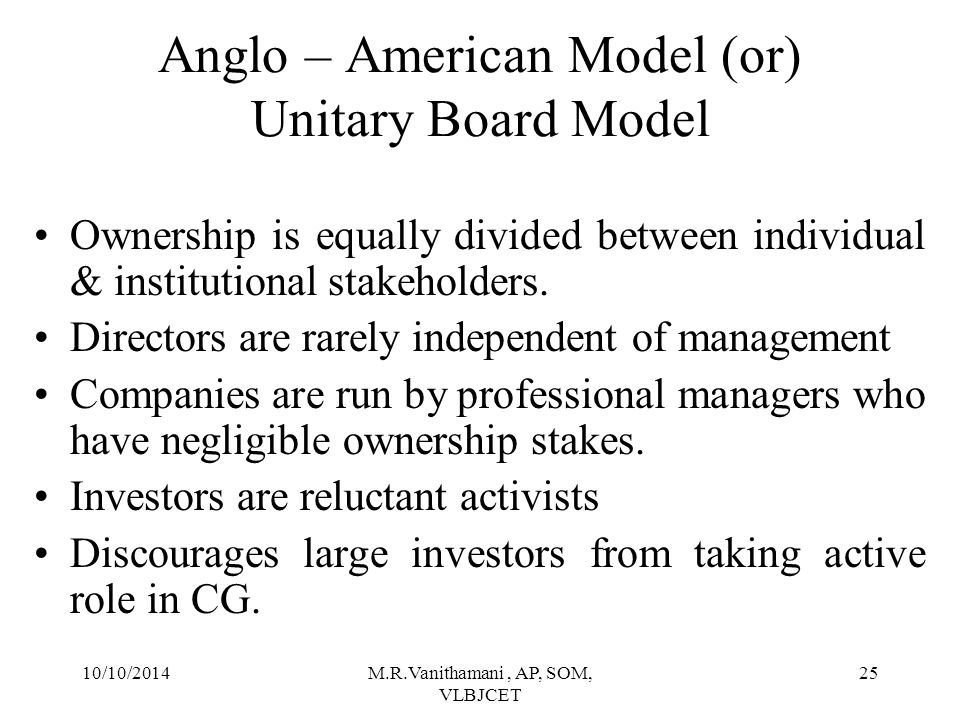 10/10/2014M.R.Vanithamani, AP, SOM, VLBJCET 24 Anglo – American Model (or) Unitary Board Model Shareholders BODShareholders Officers/ Managers Shareholders Company Creditors Elect Lies on Manage Appoints & Supervises Stake in Monitors & Regulates Own