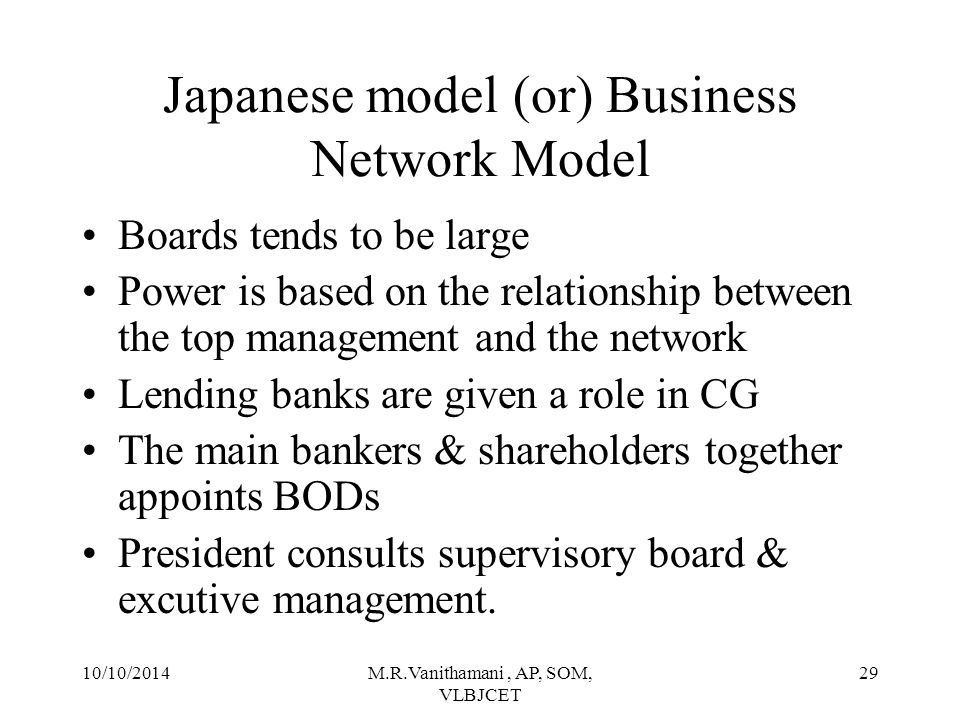 10/10/2014M.R.Vanithamani, AP, SOM, VLBJCET 28 Japanese model (or) Business Network Model Supervisory Board President Executive Management Company Appoint Manage Consults Owns Provides Loans Own Shareholders Ratifies the President's Decision Main Bank