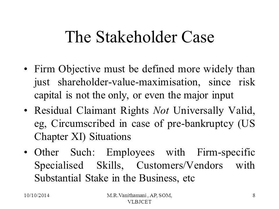 10/10/2014M.R.Vanithamani, AP, SOM, VLBJCET 7 Exclusive Accountability to Shareholders Risk-bearing Entrepreneurs Residual Claimants Winding-up Ranking: Last in Pecking Order Boards Appointed by Shareholders Non-congruence of Stakeholder Interests