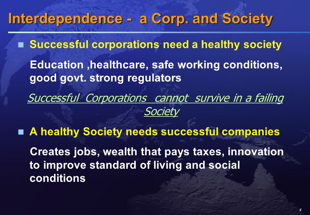 4 Interdependence - a Corp. and Society Interdependence - a Corp.