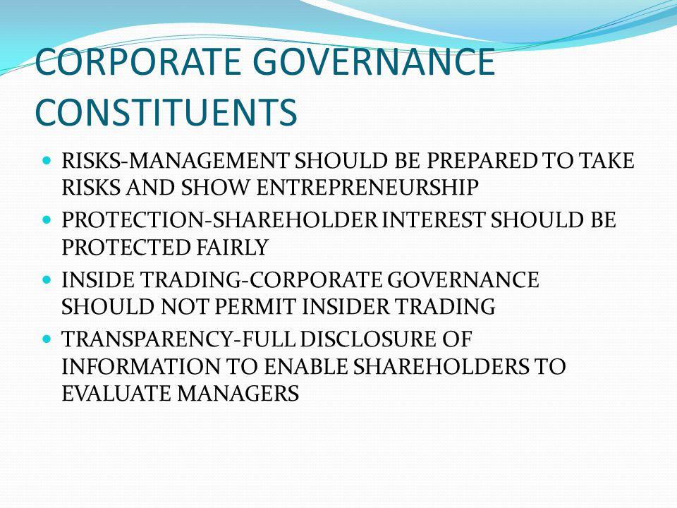 CORPORATE GOVERNANCE CONSTITUENTS RISKS-MANAGEMENT SHOULD BE PREPARED TO TAKE RISKS AND SHOW ENTREPRENEURSHIP PROTECTION-SHAREHOLDER INTEREST SHOULD B