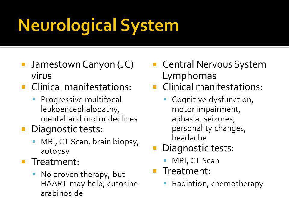  Jamestown Canyon (JC) virus  Clinical manifestations:  Progressive multifocal leukoencephalopathy, mental and motor declines  Diagnostic tests: 
